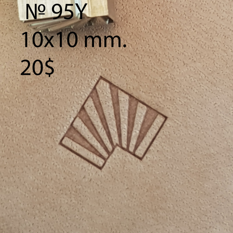 Tool for leather craft. Stamp 95Y -angular stamp for stamp 95. Size 10x10 mm
