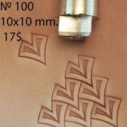 Tool for leather craft. Stamp 100. Iron scale. Size 10x10 mm