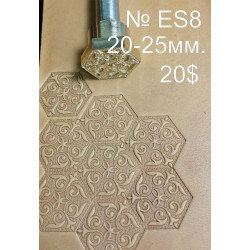 Tool for leather craft. Stamp ES8. East Series. Size 20x25 mm