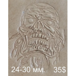 Tool for leather craft. Skull Zombie. Size 24x30 mm