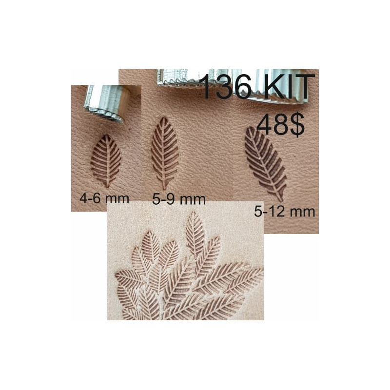 Tools for leather craft. Kit 136 - 3 background stamps. Sizes: 4x6, 5x9, 5x12 mm
