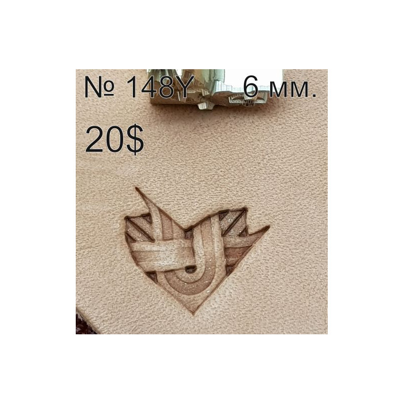 Tool for leather craft. Stamp 148Y -angular stamp for stamp 148. Size 6 mm