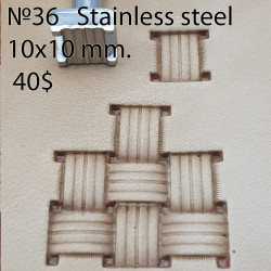 Tool for leather craft. Stamp 36. Stainless steel. Size 10x10 mm