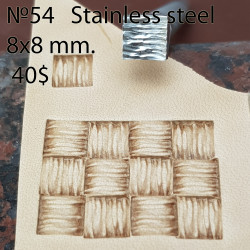 Tool for leather craft. Stamp 54. Stainless steel. Size 8x8 mm