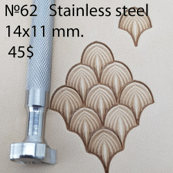Tool for leather craft. Stamp 62. Stainless steel. Size 11x14 mm