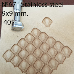 Tool for leather craft. Stamp 67. Stainless steel. Size 9x9 mm
