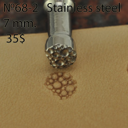 Tool for leather craft. Stamp 68-2. Stainless steel. Size 7 mm