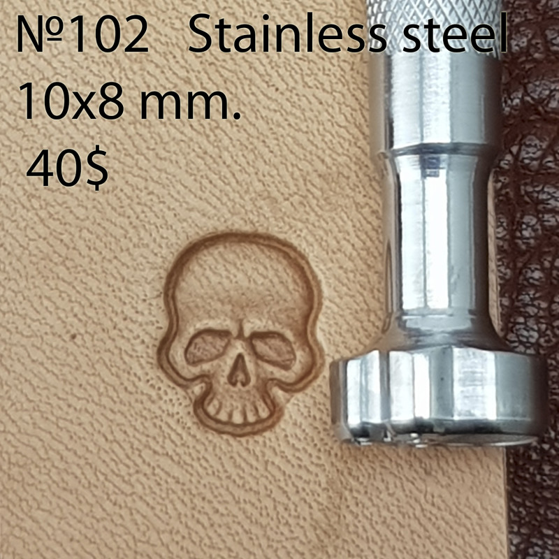 Tool for leather craft. Stamp 102. Stainless steel. Size 8x10 mm