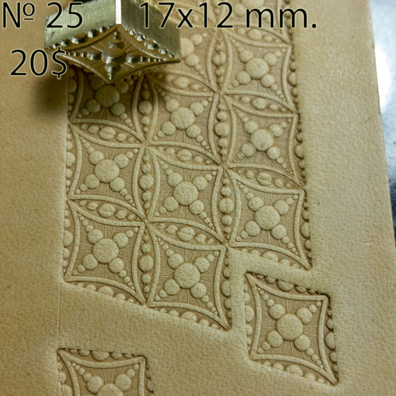 Tool for leather craft. Stamp 25. Size 12x17 mm