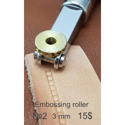 Tool for leather crafts. Embossing roller 2. Size 3 mm. Diameter for handle 5 mm