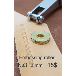Tool for leather crafts. Embossing roller 3. Size 3 mm. Diameter for handle 5 mm