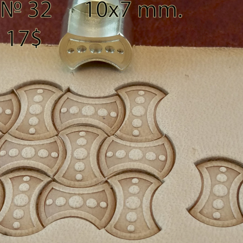 Tool for leather craft. Stamp 32. Size 10x10 mm