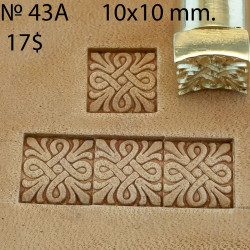 Tool for leather craft. Stamp 43A. Size 10x10 mm