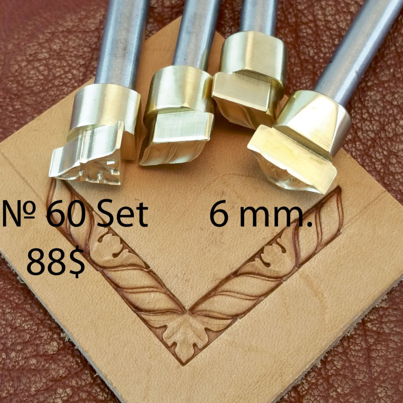 Tools for leather craft. Kit 60 - 4 frame stamps. Size: 6 mm width