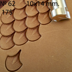 Tool for leather craft. Stamp 62. Dragon`s scale. Size 12x14 mm