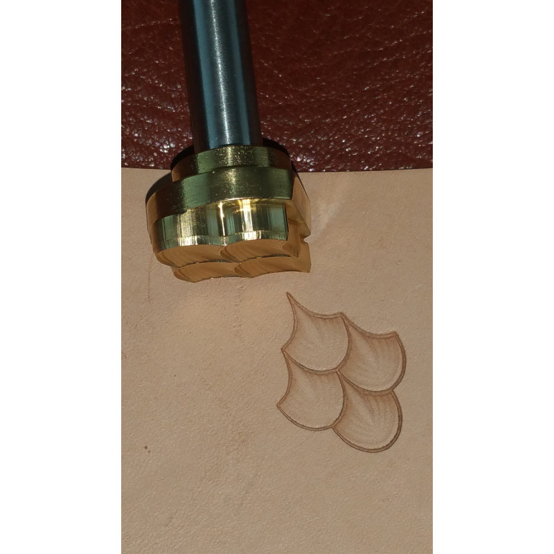 Tool for leather craft. Stamp 62B-4. 4 dragon`s scales. Size of one scale 12x14 mm