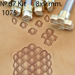 Tools for leather craft. Kit 67. Snake`s scale set. Size of pattern