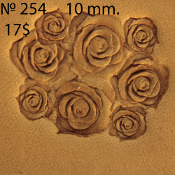 Tool for leather craft. Stamp 254 Rose. Size 10 mm