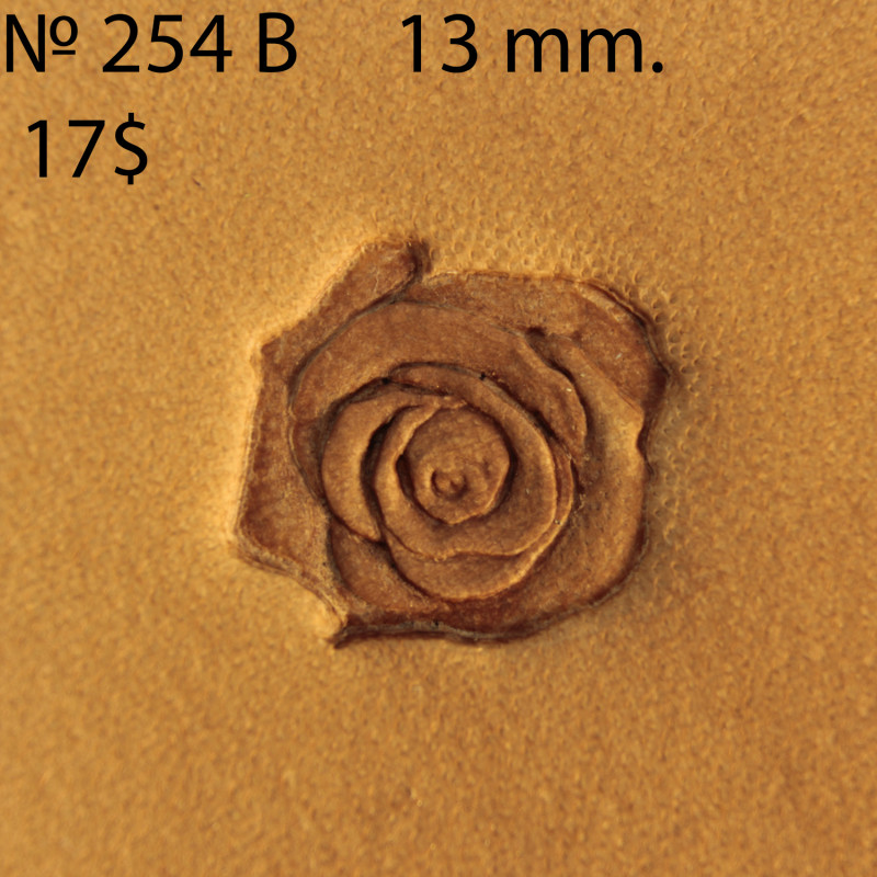 Tool for leather craft. Stamp 254B Rose. Size 13 mm