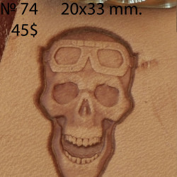 Tool for leather craft. Stamp 74. Skull with glasses. Size 20x33 mm